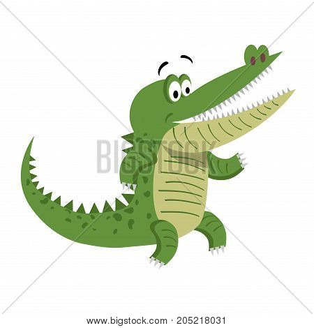 Cartoon crocodile standing with wide open mouth isolated on white background. Cute big reptile smiling and showing teeth vector illustration. Drawn friendly croc sticker for children in flat style