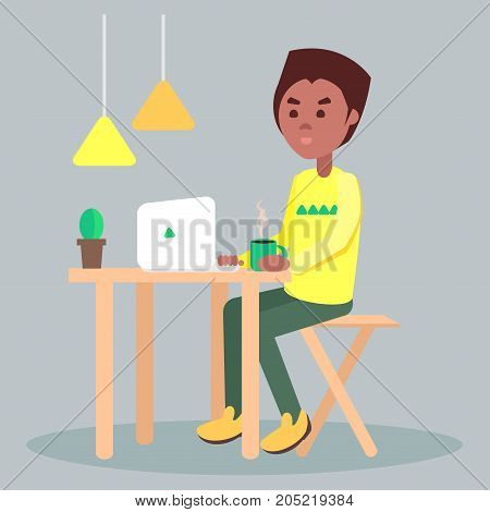 Freelancer working on computer at home or in cafe. African american men seating at the wooden table with cup of coffee and laptop flat vector. Internet browsing at comfortable workplace illustration