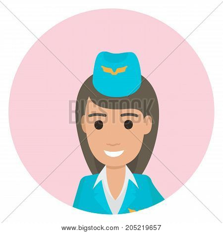 Dark-haired stewardess in blue uniform posing close-up in round web button avatar on white background vector illustration.