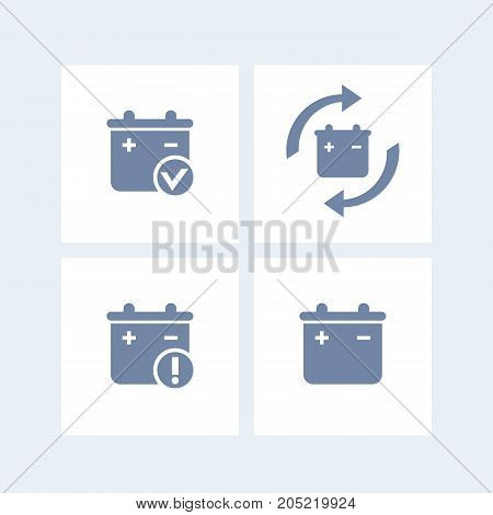 Battery icons, battery replacement, warning pictogram isolated on white, vector illustration