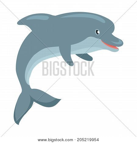 Dolphin cartoon character. Cute dolphin flat vector isolated on white background. Aquatic fauna. Dolphin icon. Animal illustration for zoo, dolphinarium ad, nature concept, children book illustrating
