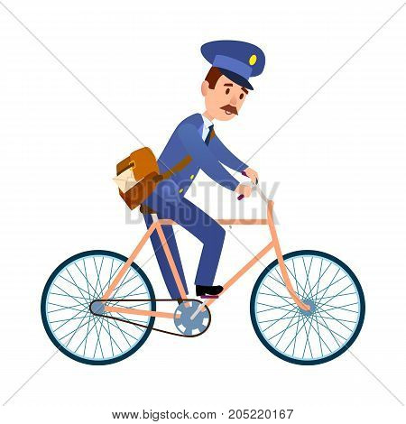Postman cartoon character in blue uniform delivering letter flat vector illustration isolated on white background. Mailman with mailbag riding on bicycle. Mustached postal courier with mail icon