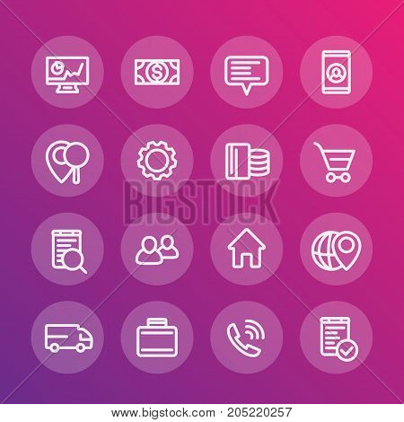 business, finance, commerce, shop, trade thick line icons, linear pictograms, vector illustration