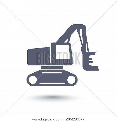Forest harvester icon, track feller buncher, timber harvesting machine on white, vector illustration