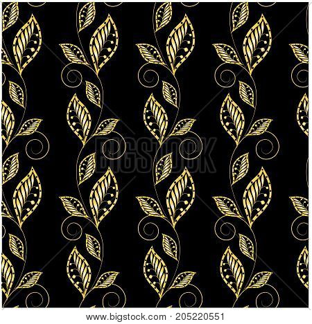 Seamless floral gold on black pattern stock vector illustration