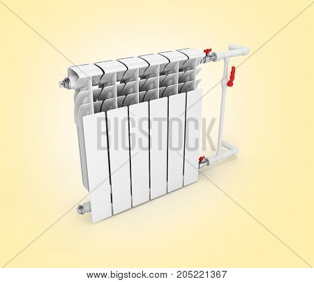 Heating White Radiator Isolated On Warm Gradient Background 3D Without Shadow