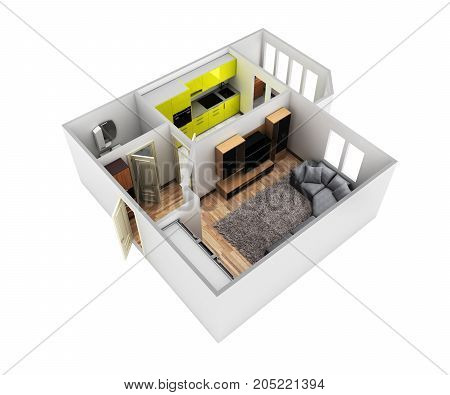 Interior Apartment Roofless Perspective View Apartment Layout 3D Render Without Shadow