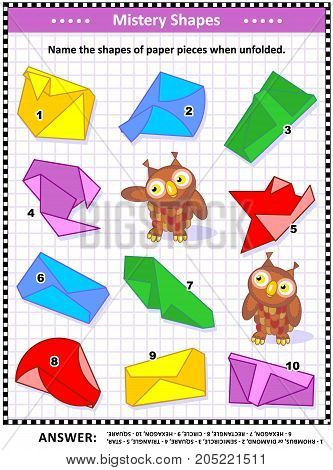 IQ training visual puzzles (suitable both for kids and adults): Name the shapes of paper pieces when unfolded. Answer included.