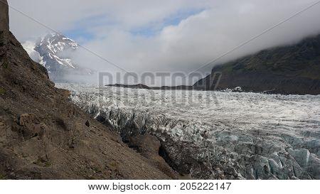 Svínafellsjökull glacier tongue, a part of Vatnajökull glacier, the biggest glacier in Europe situated in Iceland