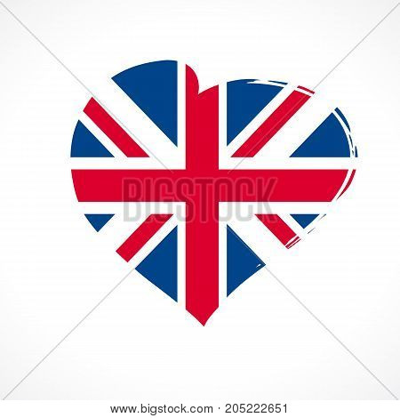 Love British Union Jack flag emblem colored. Celebration United Kingdom England banner with vector curving red heart and flag