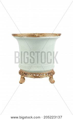 Ornamental flowerpot, cache-pot, pottery on white background. Isolated