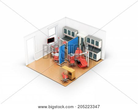 Isometric Dentist Office On Two Posts Red 3D Rendering On White Background