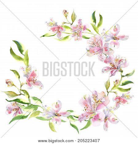 Romantic watercolor Summer garden alstroemeria wreath decoration flowers wreath