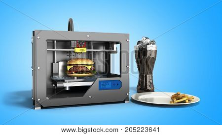 3D Printer Print Burger 3D Rendering On Blue