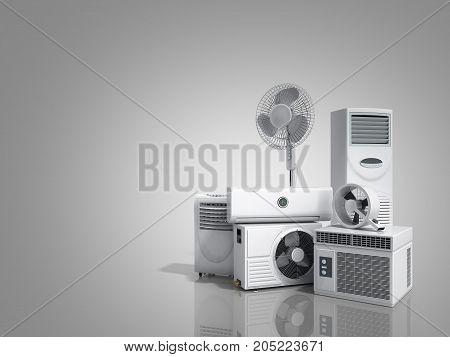 Air Conditioning Equipment 3D Rensder On Greybackground