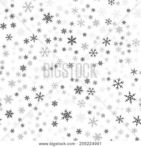 Black Snowflakes Seamless Pattern On White Christmas Background. Chaotic Scattered Black Snowflakes.