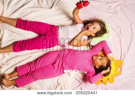 Schoolgirls Over Slept Lying On Funny Pillows