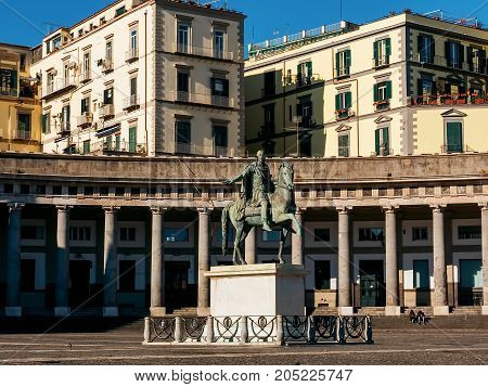 Naples, Piazza del Plebiscito, statue of Charles III of Spain, in Italy