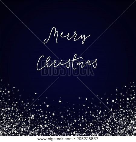 Merry Christmas Greeting Card. Amazing Falling Stars Background. Amazing Falling Stars On Deep Blue