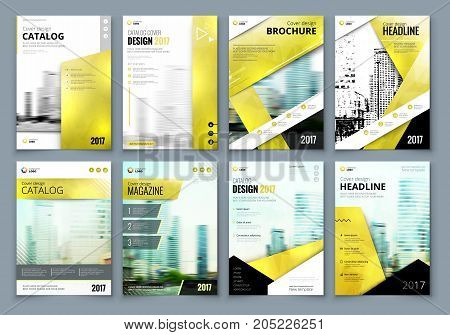 Cover design set. Yellow Corporate business template for brochure, report, catalog, magazine, book, booklet. Layout with modern elements and abstract background. Creative vector concept