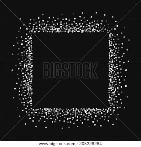 Silver Glitter. Square Abstract Mess With Silver Glitter On Black Background. Charming Vector Illust