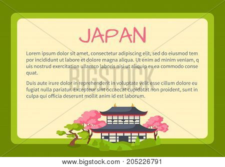 Japan framed touristic banner with national symbols and sample text. Ancient japanese pagoda surrounded cherry blossom flat vector illustration. Vacation in asian country concept for travel company ad