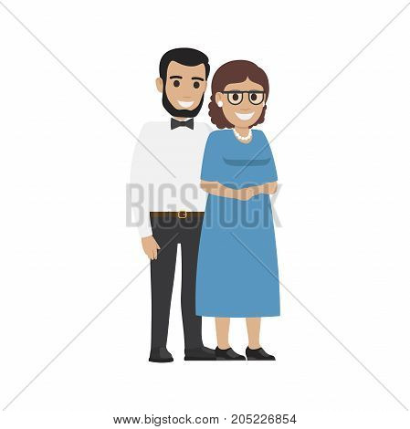 Married middle aged european couple. Average family isolated on white. Two romantic people in middle adulthood. Man in white shirt and trousers and woman wearing long blue dress and glasses