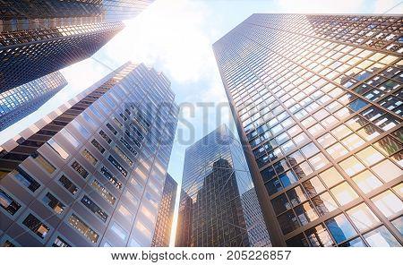 3D illustration. Conceptual image of buildings perspective futuristic vision.