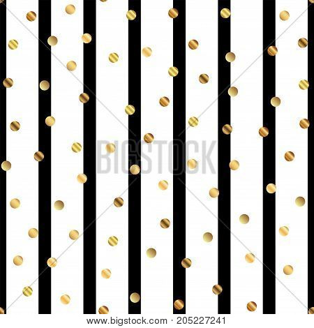 Golden Dots Seamless Pattern On Black And White Striped Background. Classy Gradient Golden Dots Endl