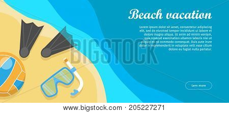 Beach vacation conceptual web banner. Flat style vector. Summer leisure on seacoast. Entertainments on sea shore. Horizontal illustration for travel company landing page, corporate site design