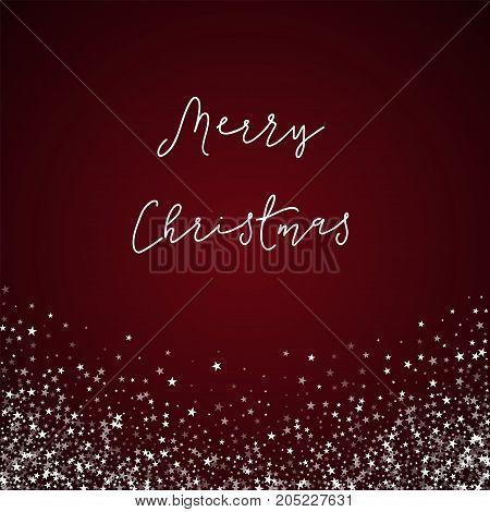 Merry Christmas Greeting Card. Amazing Falling Stars Background. Amazing Falling Stars On Red Backgr