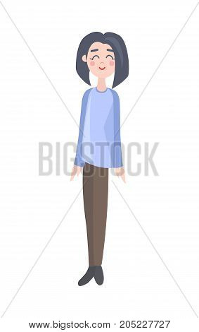 Happy woman vector icon. Smiling young female with brunet hear in casual clothing vector illustration. Cute girl cartoon character isolated on white background for people concepts, infographics