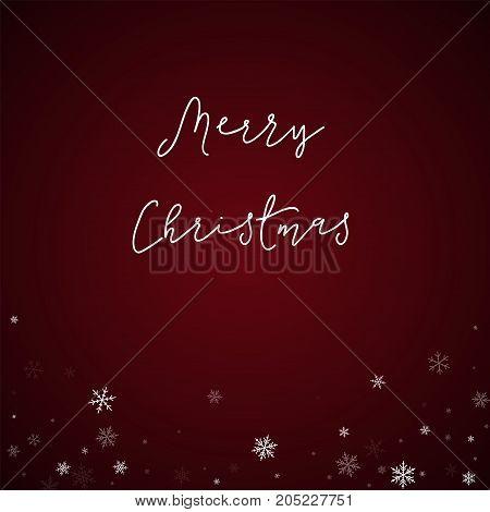 Merry Christmas Greeting Card. Sparse Snowfall Background. Sparse Snowfall On Red Background. Wonder