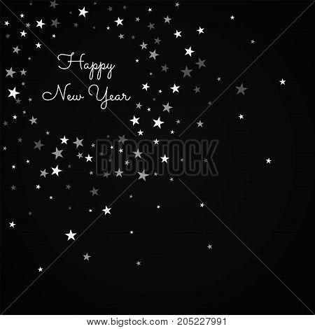 Happy New Year Greeting Card. Random Falling Stars Background. Random Falling Stars On Black Backgro