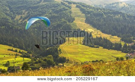 Skydiving in a forest mountains. Location Carpathians