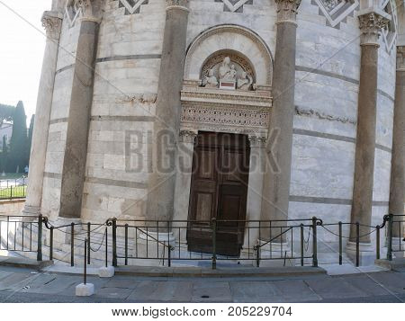 Door to Leaning Tower of Pisa, Square of Miracles Piazza dei Miracoli Italy