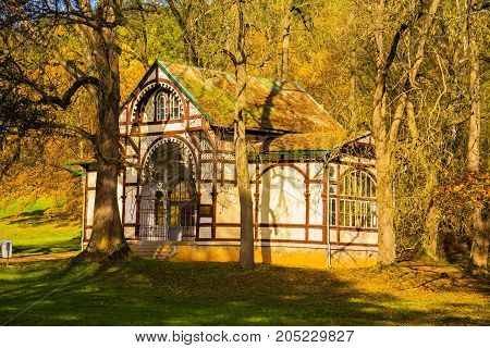 Pavilion of mineral water spring Rudolph - small west Bohemian spa town Marianske Lazne (Marienbad) - Czech Republic
