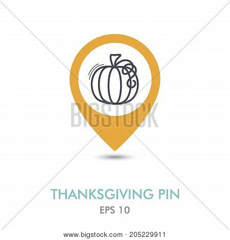 Pumpkin mapping pin icon. Harvest. Thanksgiving vector illustration eps 10