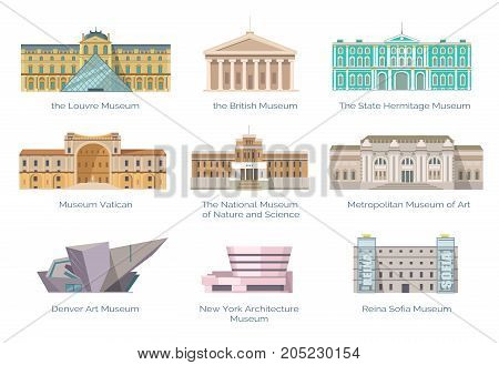 Worldwide famous museums of nature and science, art and history collection. Gorgeous ancient and modern buildings vector illustrations.