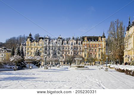 Spa center of small west Bohemian spa town Marianske Lazne (Marienbad) in winter with snow - Czech Republic