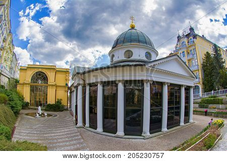 Pavilion of cold mineral water - Cross spring in the small west Bohemian spa town Marianske Lazne (Marienbad) - Czech Republic