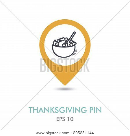 Salad bowl mapping pin icon. Harvest. Thanksgiving vector illustration eps 10