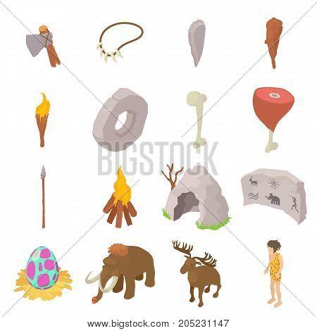 cavemen human icons set. Isometric illustration of 16 caveman vector icons for web