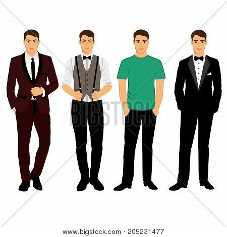 Collection. Men's Clothing. Wedding men's suit tuxedo. Vector illustration