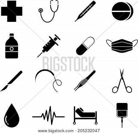 Vector Easy-To-Use 16 Black Medical Flat Icons Isolated On White Background Categorized Into Four Groups Check up Pharmaceutical Surgery And Healing.