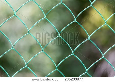 Background of the metal mesh . In a park in the nature