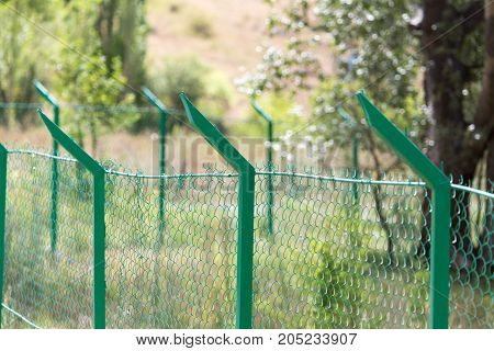 metal fence on the nature . In a park in the nature