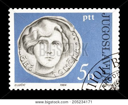 YUGOSLAVIA - CIRCA 1984 : Cancelled postage stamp printed by Yugoslavia, that shows Portrait of National hero Cec Toncka.