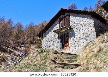 Swiss hinterdorf in the high Alps around Zermatt