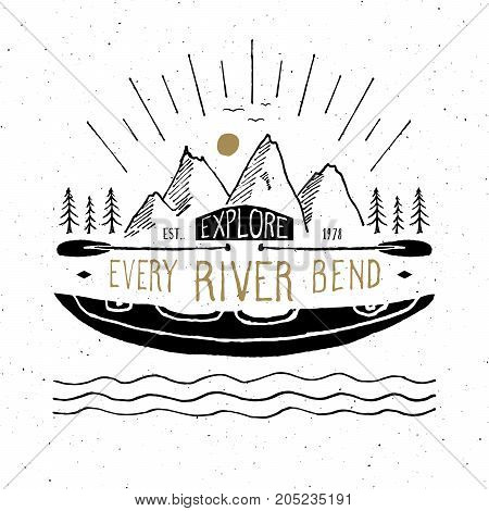 Kayak and canoe vintage label Hand drawn sketch grunge textured retro badge typography design t-shirt print vector illustration.